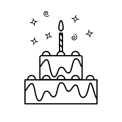 Simple outline vector icon of two-level birthday cake with one candle. Cake icon in trendy outline design