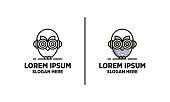 istock Simple Owl with Headphone Logo Design 1256872378