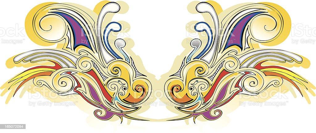 simple paisley wings royalty-free stock vector art