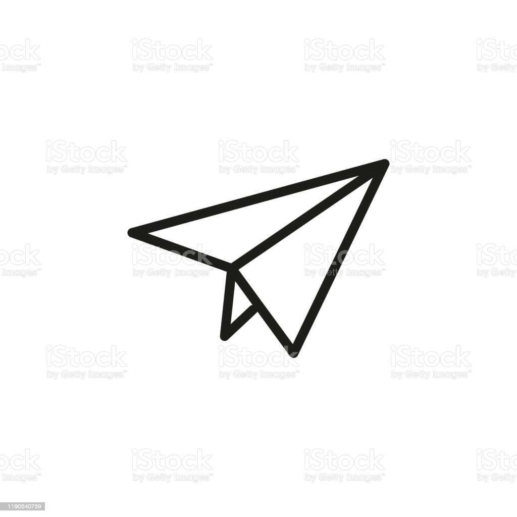 Simple Paper Plane Line Icon Stock Illustration Download Image