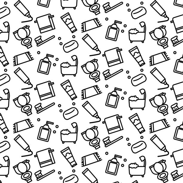 Simple pattern background outline of variety toilet tool icon on white background Simple pattern background outline of variety toilet tool icon on white background bathroom patterns stock illustrations
