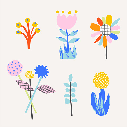Simple pattern with cute flowers. Abstract floral background. Vector illustration for design, fabric and print.
