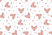 simple pattern with pink cats and geometric shapes