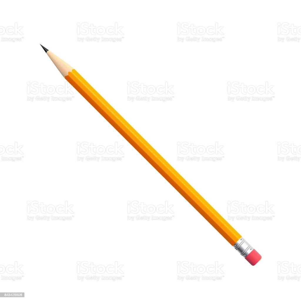Simple pencil with eraser vector art illustration