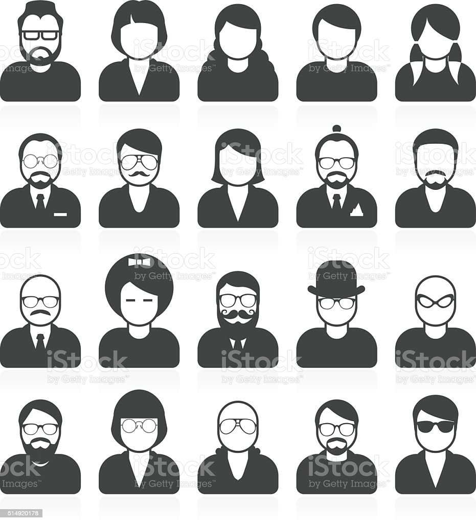 Simple people avatars and userpics with different style and hairdo vector art illustration