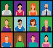 Vector illustration of Simple People Avatars over multi colored backgrounds