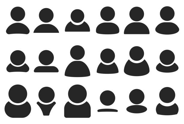 Simple People Heads Icon Set Simple People Heads Icon Set unrecognizable person stock illustrations