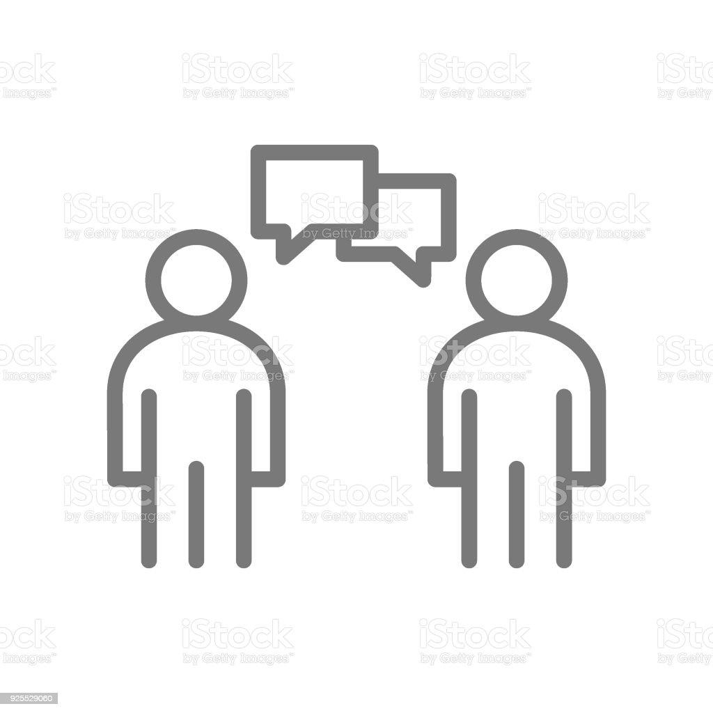 Icono de línea habla de gente simple. Símbolo y signo vector ilustración diseño. Aislado sobre fondo blanco - ilustración de arte vectorial