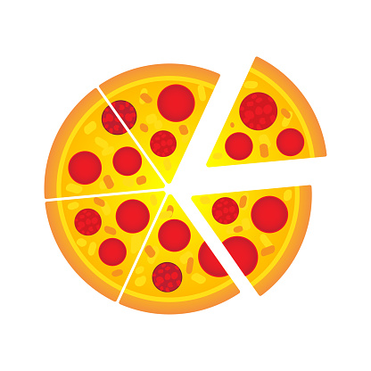 Simple pepperoni Italian pizza cartoon vector illustration design. Slide of pizza on white background.