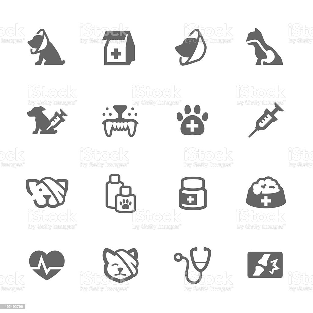 Simple Pet Vet icons vector art illustration