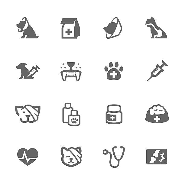stockillustraties, clipart, cartoons en iconen met simple pet vet icons - dierenziekenhuis