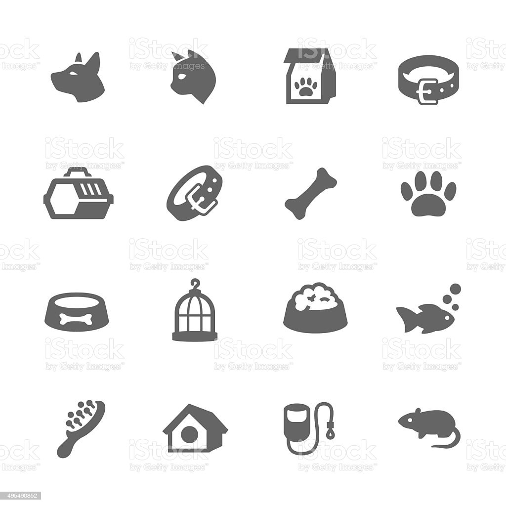 Simple Pets Icons vector art illustration