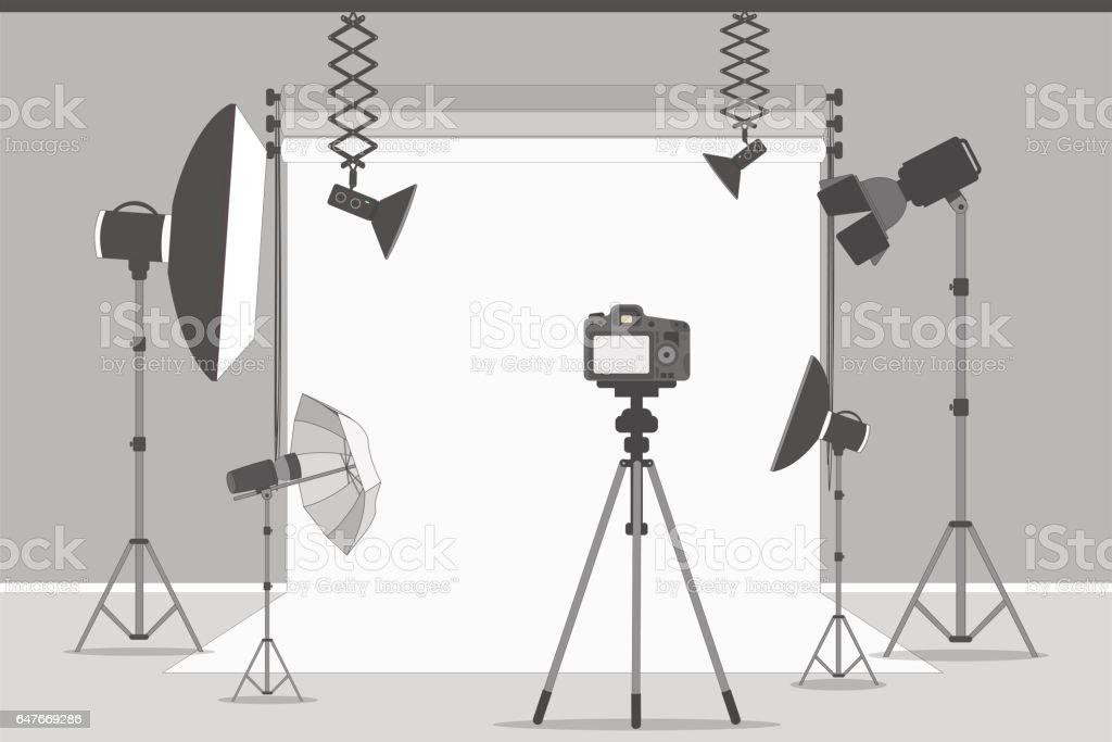Simple photo studio. vector art illustration