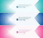 Vector of 3 banner design with 3 color pixels decoration design items.