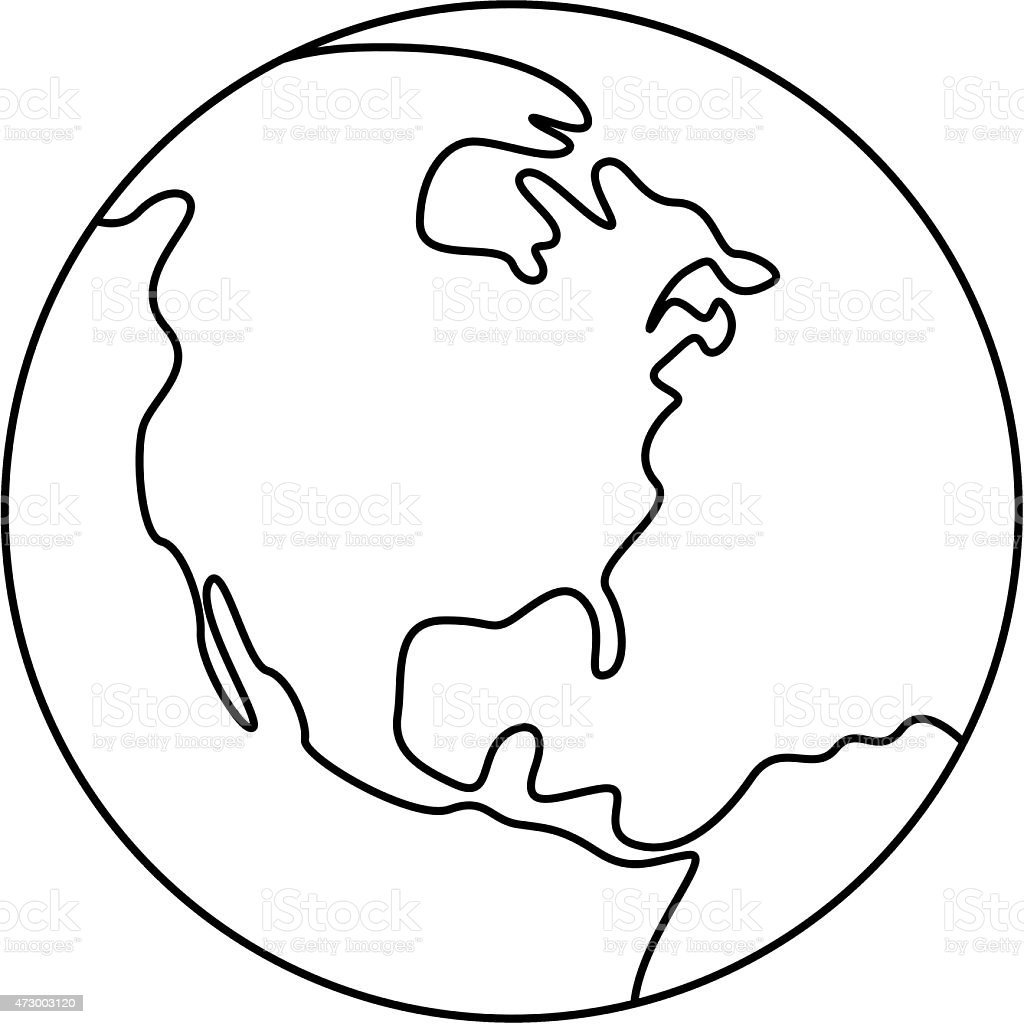 Simple planet earth stock vector art more images of 2015 for Easy to draw earth