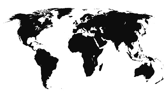Planisphere simple style black silhouette illustration - Editable vector world map isolated on white background