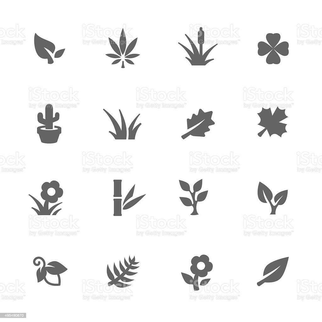Simple plants icons vector art illustration