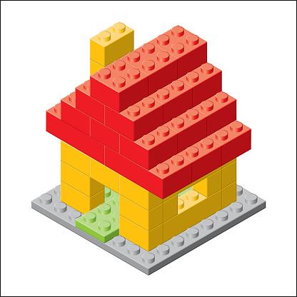Simple plastic brick toy house.