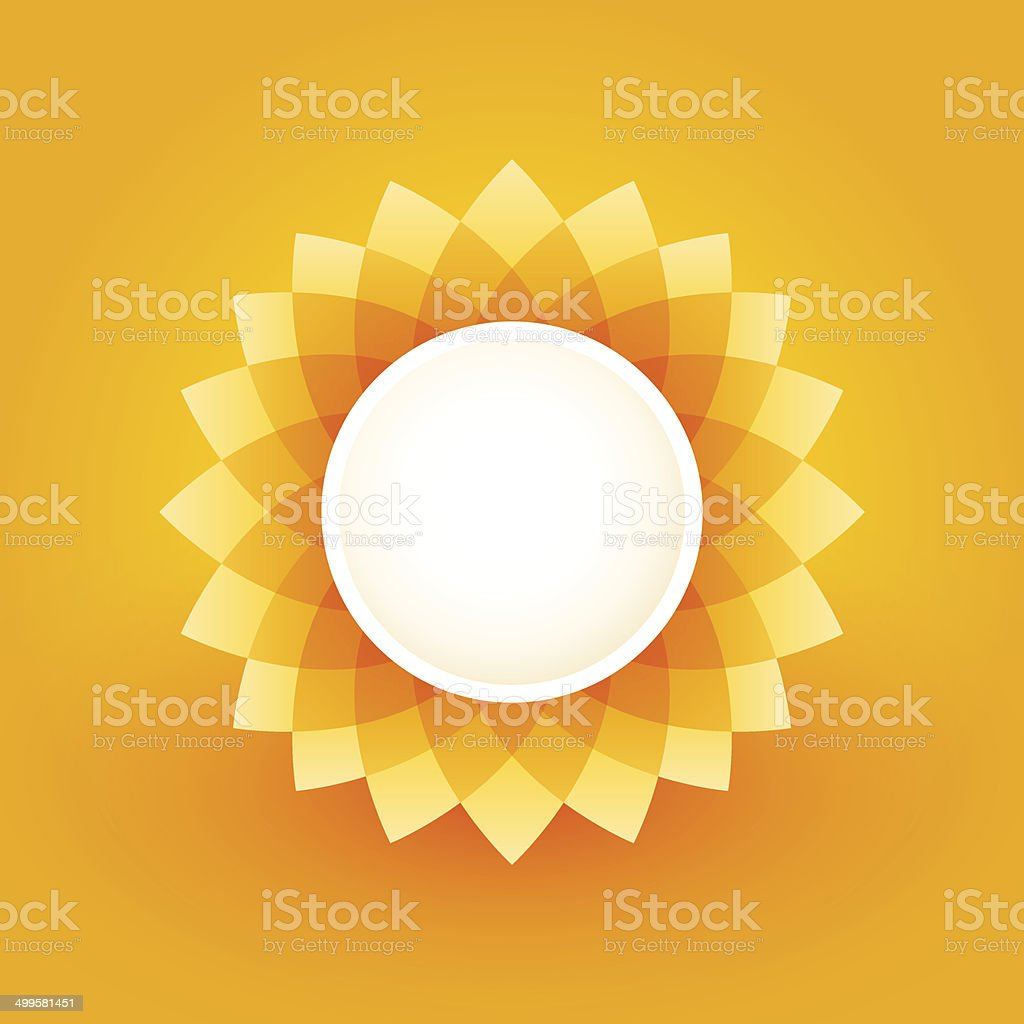 simple plate with sunflower motif vector art illustration