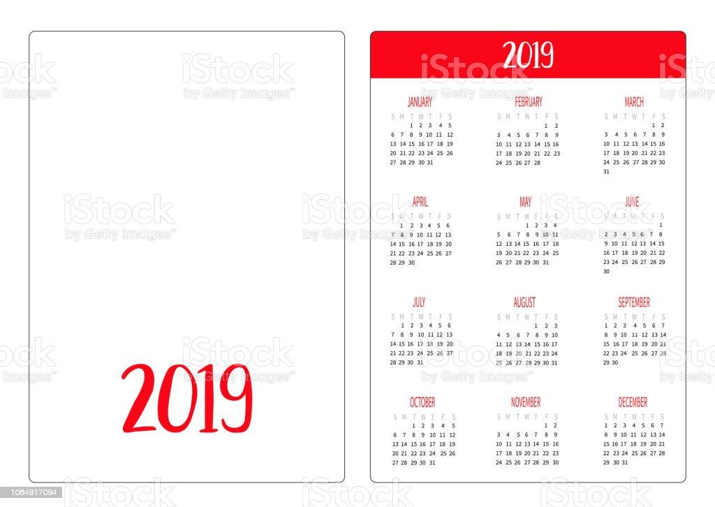 Simple Pocket Calendar Layout 2018 New Year Template Week Starts