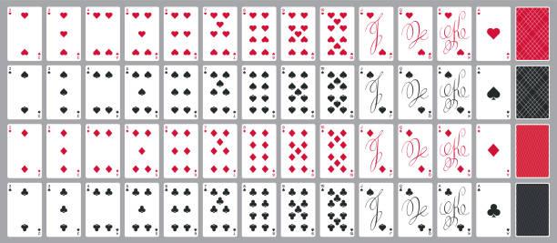 einfache poker-karten voll inmitten einer modernen kalligraphischen design, vier farben - holzdeck stock-grafiken, -clipart, -cartoons und -symbole