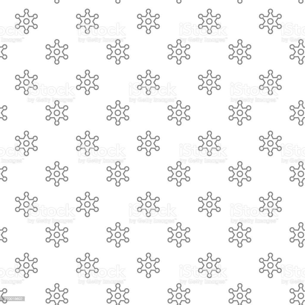 Simple Police And Sheriff Star Badge Seamless Pattern With Various ...