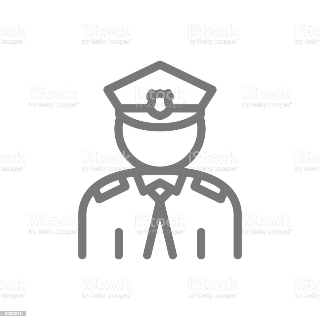 Simple Police Officer Cop Line Icon Symbol And Sign Vector