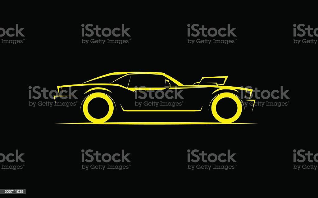 Einfache, leistungsstarke Auto mit supercharger  – Vektorgrafik