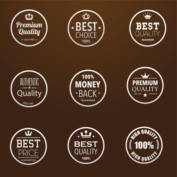 Simple premium quality badges vector art illustration