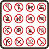 Collection of prohibited signs for No Eating, No Drinking and No Smoking.