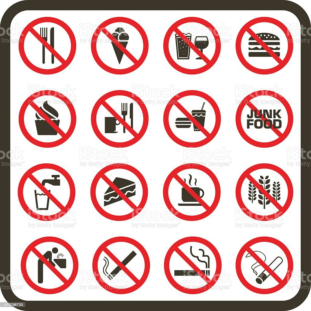 Simple Prohibited Food, Drink and Smoking Signs vector art illustration