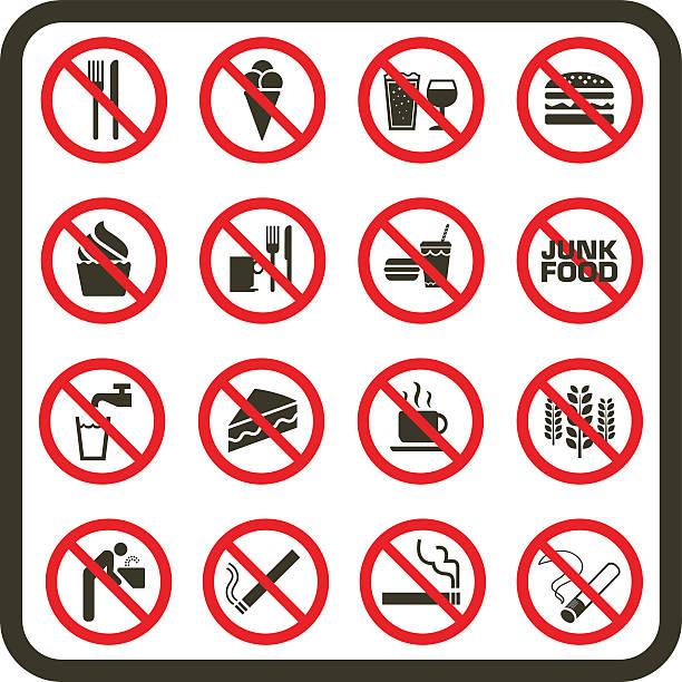 proste zabrania się jedzenia, picia i palenia objawy - fontanna stock illustrations