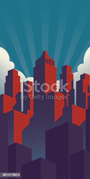 A simple propaganda poster style city illustration with red buildings on a teal sky background in vertical orientation.