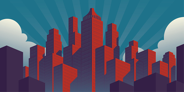 simple propaganda poster style city illustration with red buildings on a teal sky background