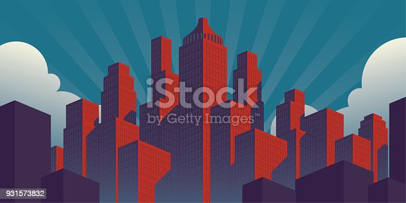 A simple propaganda poster style city illustration with red buildings on a teal sky background in a ​horizontal orientation.