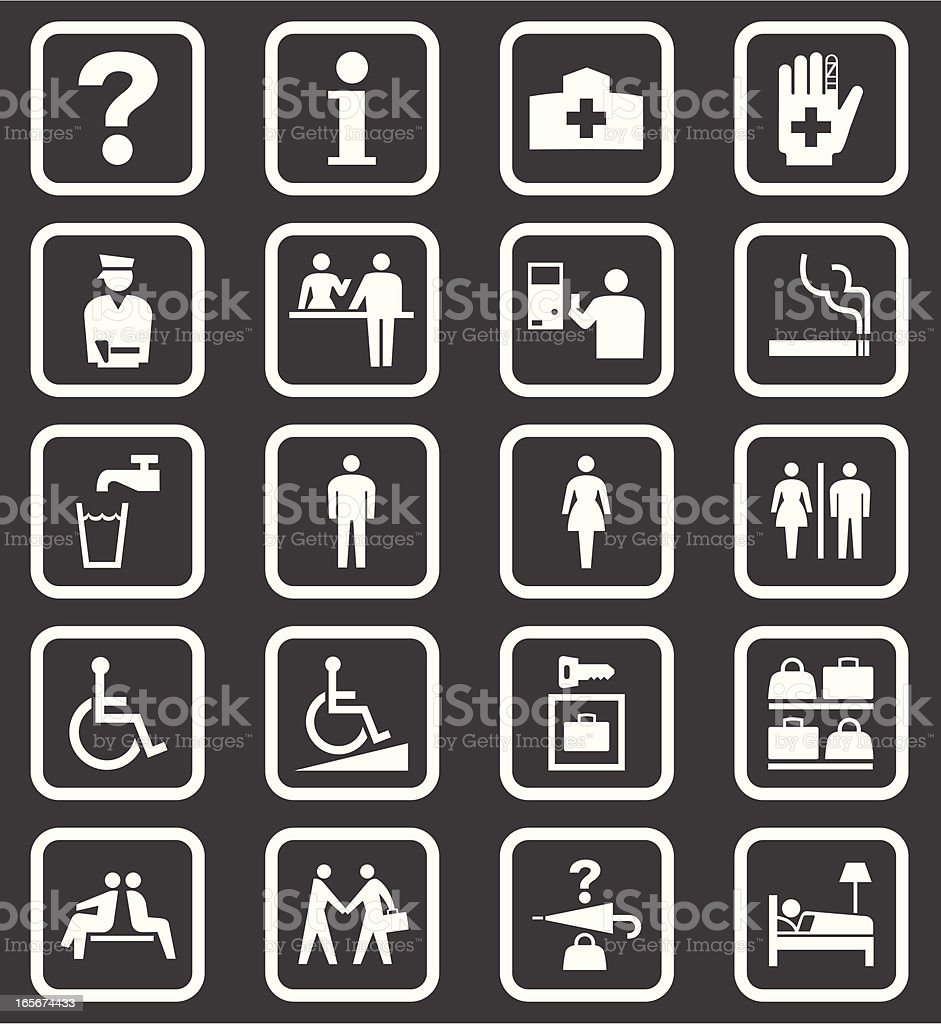 Simple Public Facilities Icons vector art illustration