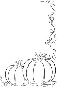 A black and white frame with pumpkins and vines.