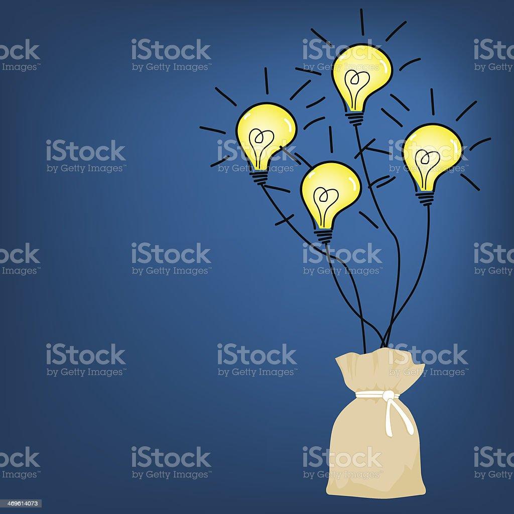 シンプルなハンドバッグの背景ベクトルイラストのアイデア電球 の