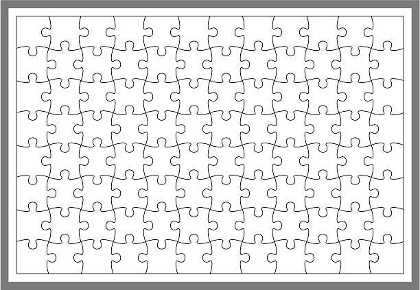 einfache puzzle-rahmen - puzzle stock-grafiken, -clipart, -cartoons und -symbole