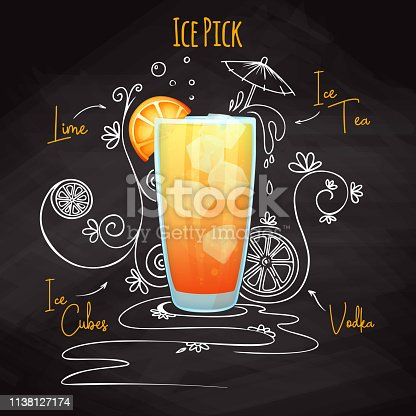 Simple recipe for an alcohol cocktail Ice Pick. Drawing chalk on a blackboard. Vector illustration