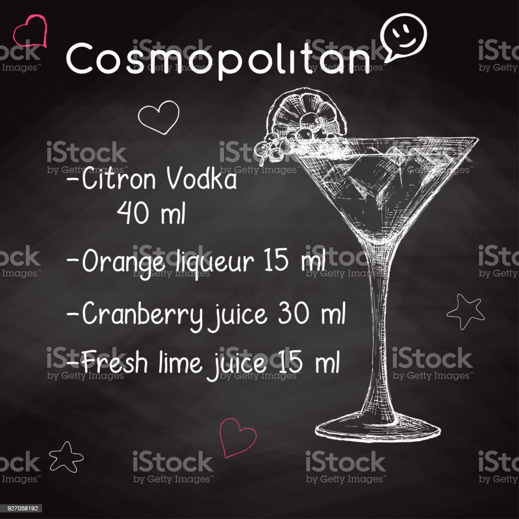 Simple recipe for an alcoholic cocktail cosmopolitan drawing chalk simple recipe for an alcoholic cocktail cosmopolitan drawing chalk on a blackboard vector illustration sisterspd