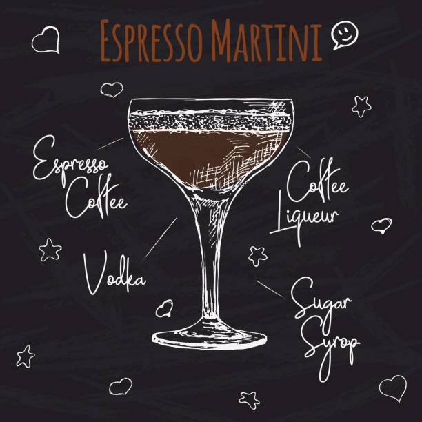 Simple recipe for an alcoholic cocktail Espresso Martini. Drawing chalk on a blackboard. Vector illustration of a sketch style. Simple recipe for an alcoholic cocktail Espresso Martini. Drawing chalk on a blackboard. Vector illustration of a sketch style. espresso stock illustrations