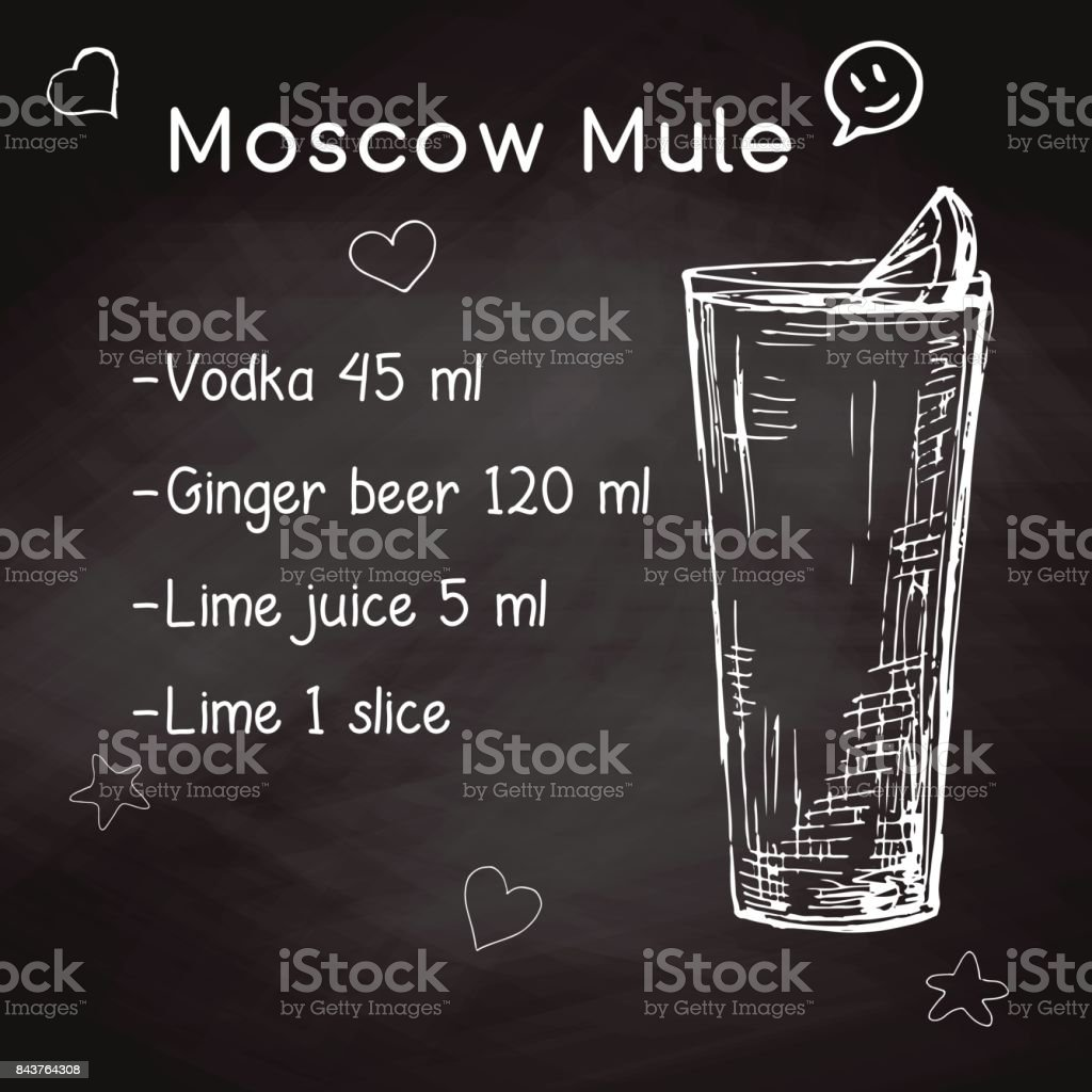 Simple recipe for an alcoholic cocktail Moscow Mule. Drawing chalk on a blackboard. Vector illustration of a sketch style. vector art illustration