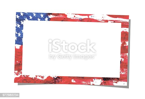 istock Simple rectangular realistic vector photo frame placed on white background with shadow. Template design. Art brush watercolor painting of USA flag blown in the wind as a frame pattern. 972983234