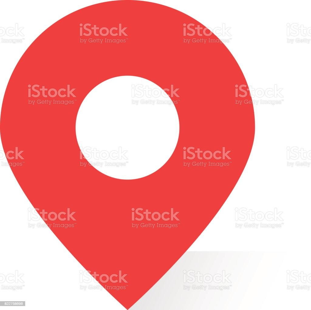 simple red map pin with shadow vector art illustration