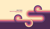 Simple retro background with rounded striped design element in color. Vector illustration.