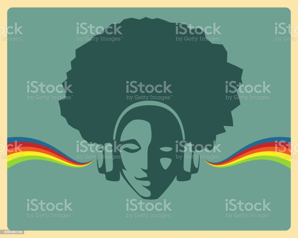 simple retro design - beautiful girl listening to music from headphones vector art illustration