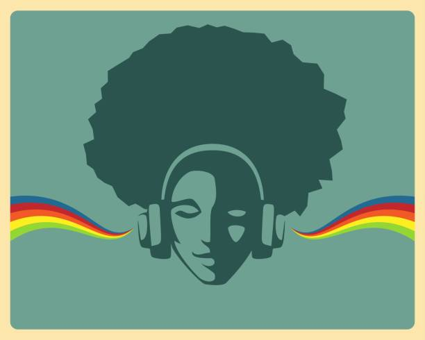 simple retro design - beautiful girl listening to music from headphones - ilustração de arte vetorial