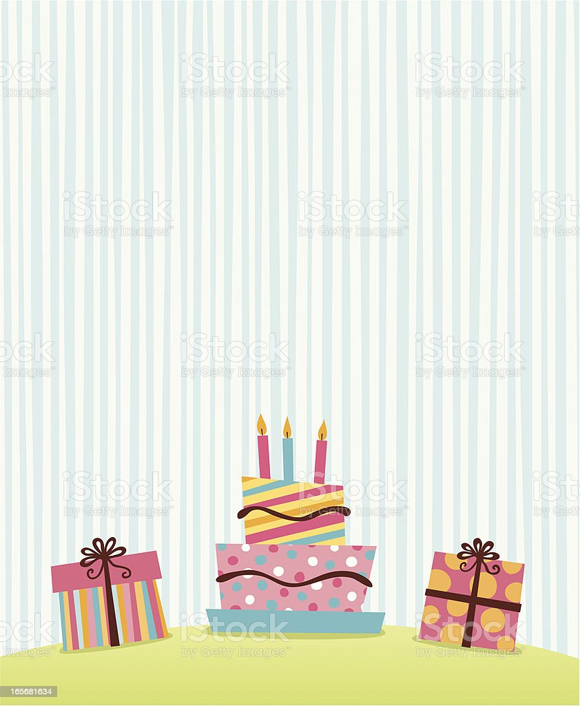 Brilliant Simple Retro Graphic Of Presents And Birthday Cake Personalised Birthday Cards Veneteletsinfo