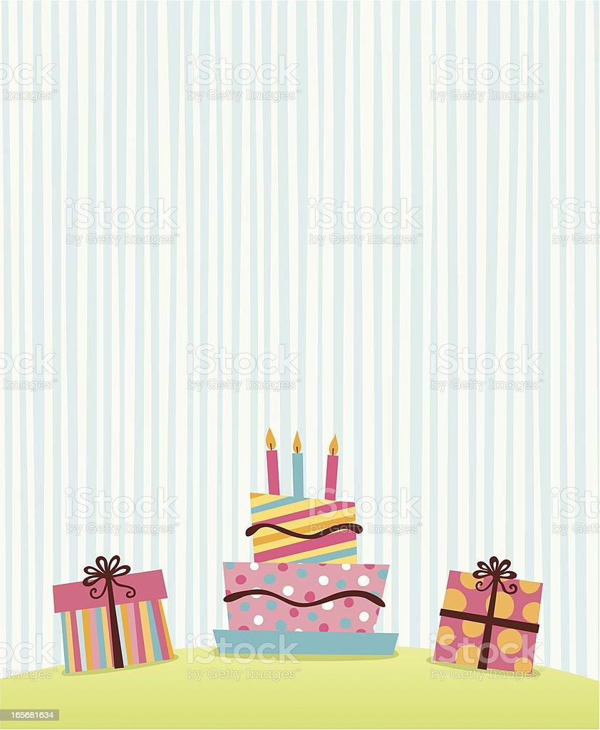 Peachy Simple Retro Graphic Of Presents And Birthday Cake Funny Birthday Cards Online Inifodamsfinfo